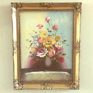 Other - Large Original Floral Oil Painting in Gold Frame B